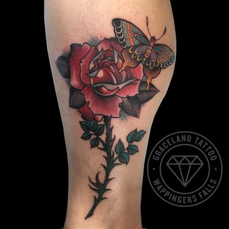 tattoos/ - Butterfly and Rose Tattoo - 122645