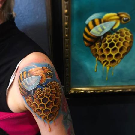 tattoos/ - Bee and Honeycomb - 112162