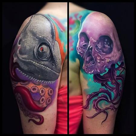 tattoos/ - Skull and Chameleon tattoo - 112163