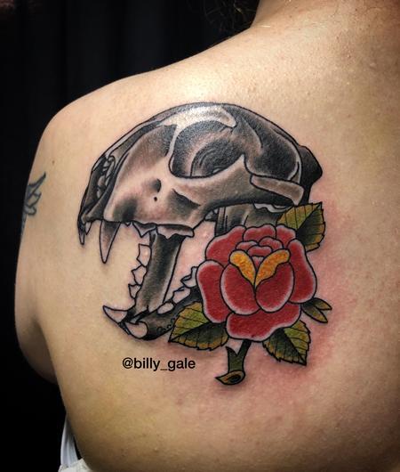 Nature Animal Panther - Panther Skull & Rose tattoo