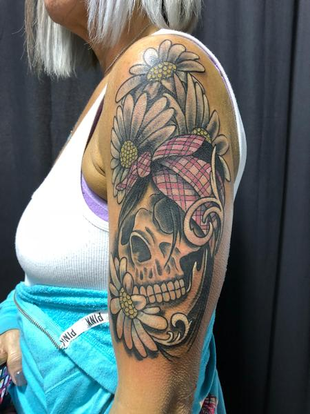 tattoos/ - Skull with Bandana amongst the Daisies..  - 132929