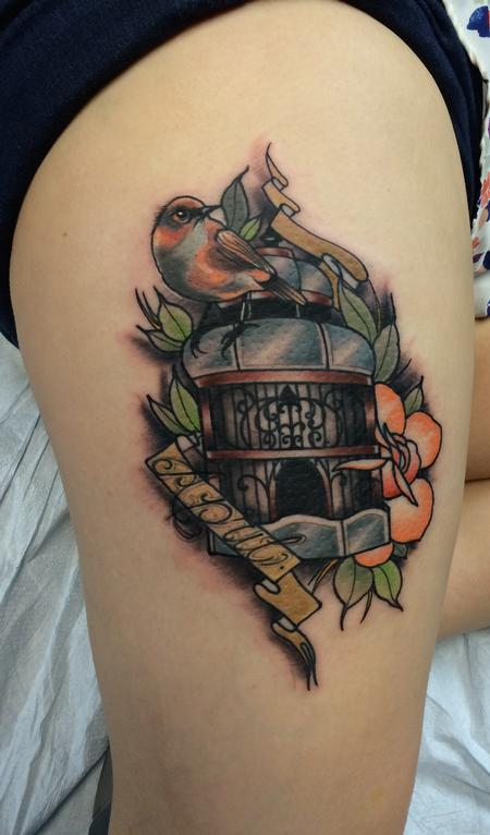 Lettering - Traditional color bird cage with bird and name tattoo, Mike Riedl Art Junkies Tattoo.