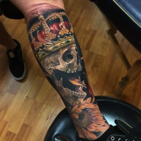 Skull - Realistic skull with crown and sunflower tattoo, Brent Olson Art Junkies Tattoo