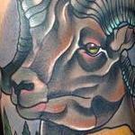 Traditional color mountain sheep, with mountain scenery tattoo. Gary Dunn Art Junkies Tattoo  Tattoo Design Thumbnail