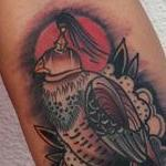 Traditional color bird on hand with rose tattoo, Mike Riedl Art Junkies Tattoo Tattoo Design Thumbnail