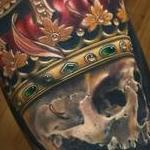 Realistic skull with crown and sunflower tattoo, Brent Olson Art Junkies Tattoo Tattoo Design Thumbnail