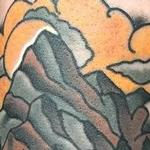 Traditional color pipe with water and mountains tattoo. Gary Dunn Art Junkies Tattoo  Tattoo Design Thumbnail