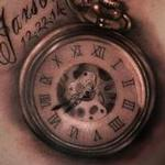 Black and grey pocket watch Tattoo Design Thumbnail