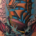 Colored traditional clipper ship with anchor tattoo Mike Riedl Art Junkies Tattoo Tattoo Design Thumbnail