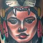 Traditional native girl with lion on head tattoo, Gary Dunn Art Junkies Tattoo Tattoo Design Thumbnail