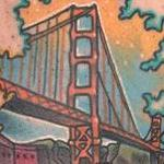 Traditional color leaf with the San Francisco bridge inside tattoo, Gary Dunn Art Junkies Tattoo  Tattoo Design Thumbnail