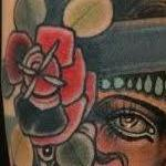 Traditional color gypsy girl with roses tattoo. Mike Riedl Art Junkies Tattoo Tattoo Design Thumbnail
