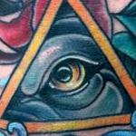 Traditional color wolf eye with a rose tattoo, Mike Riedl Art Junkies Tattoo Tattoo Design Thumbnail