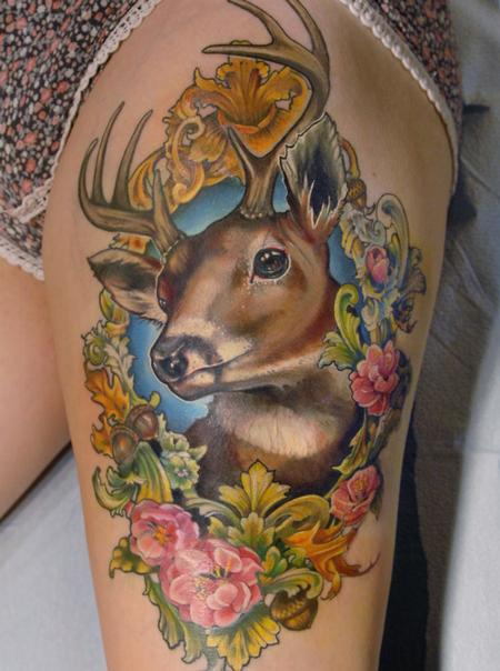 tattoos/ - Deer in floral victorian frame tattoo - 130899