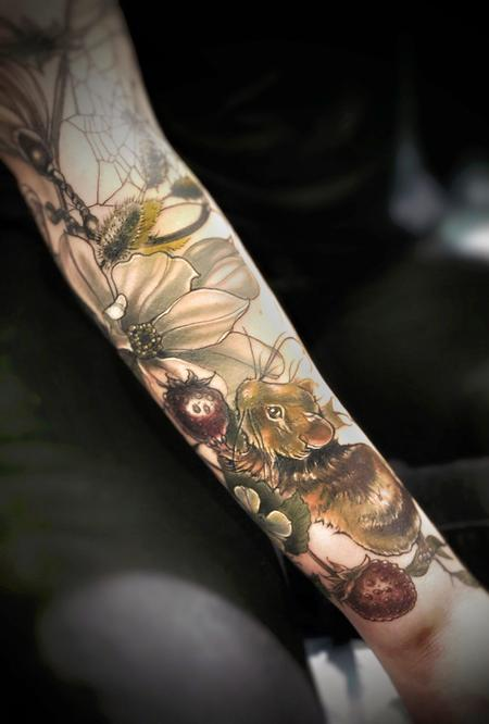 Nature Animal Spider - mouse strawberry tattoo