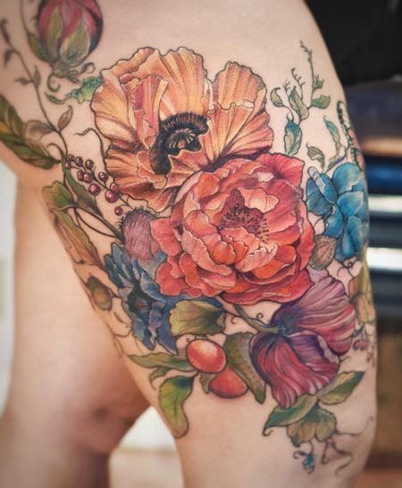 tattoos/ - poppy peony floral leg tattoo - 132068