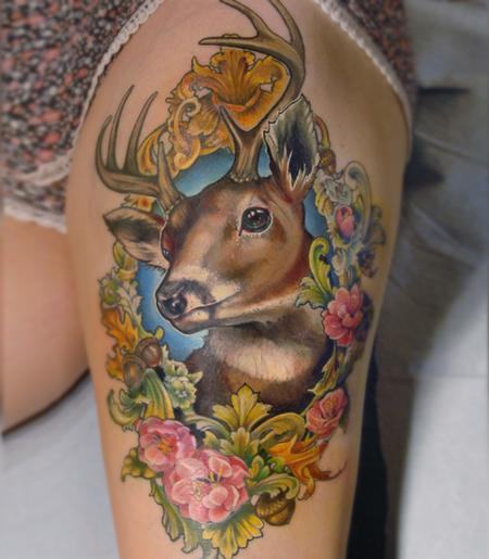 tattoos/ - victorian picture frame deer tattoo - 131968
