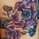tattoos/ - vintage anemone flower and blueberries tattoo - 123344