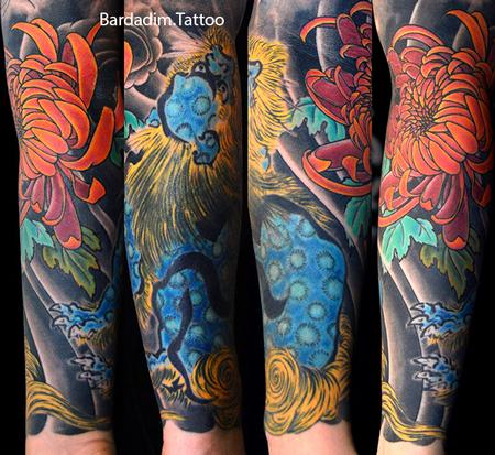 Coverup - Shi Shi Lion and Chrysanthemum Flower