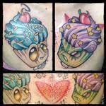 good and evil cupcake Tattoo Design Thumbnail