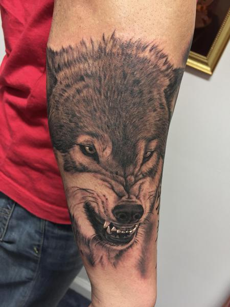 tattoos/ - Snarling Wolf Tattoo - 115684