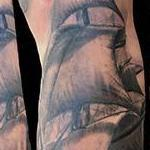 Black and grey ship tattoo Tattoo Design Thumbnail