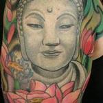custom color Buddha and lotus tattoo done by Glenn Collins @ Broken lantern tattoo  Tattoo Design Thumbnail