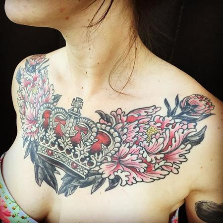 tattoos/ - Traditional crown chestpiece - 132172