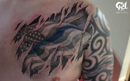 Tattoos - American Flag Back the Blue Tattoo - 126691