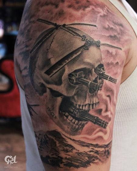 Army Skull Tattoo (Skull Helicopter) Tattoo Design Thumbnail