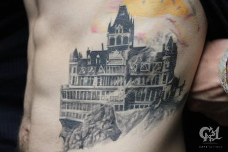 Tattoos - Burning Cliff House Tattoo - 123227