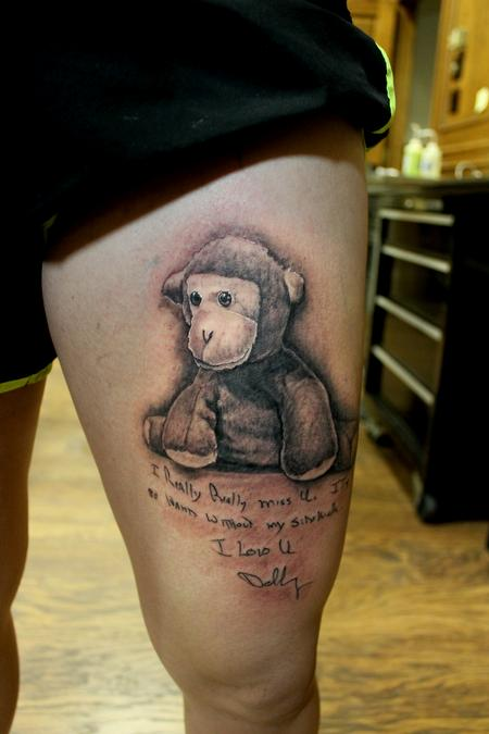 Tattoos - Black And Grey Memorial Tattoo - 117099
