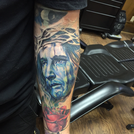 Tattoos - Colored Jesus Christ with Thorns - 120388