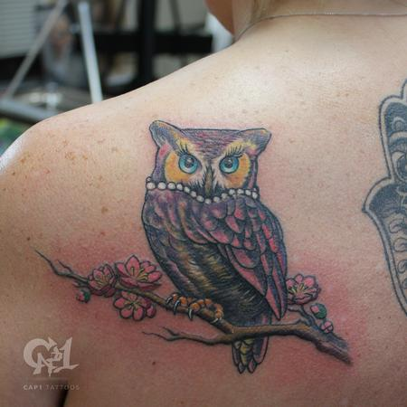 Tattoos - Color Owl Tattoo - 123336