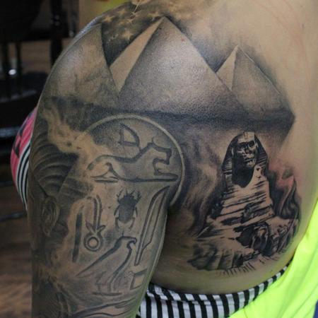Tattoos - Great Sphinx of Giza, Giza's Three Great Pyramids And Ancient Egyptian Hieroglyphics - 119466