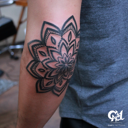 Tattoos - Mandala Elbow Tattoo - 126645