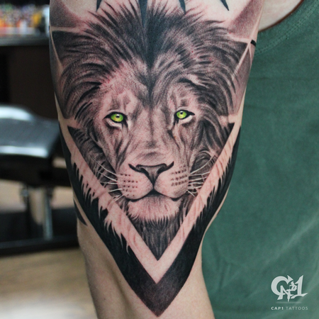 Tattoos - Geometric Lion Tattoo - 127689