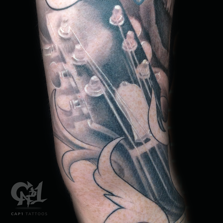 Tattoos - Realistic Guitar Headstock Tattoo - 123007