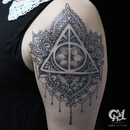 Tattoos - Harry Potter Deathly Hollows Mandala - 122233