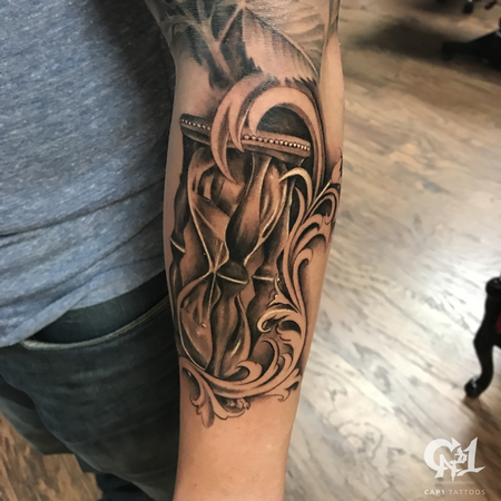 Tattoos - Realistic Hourglass Tattoo - 127690