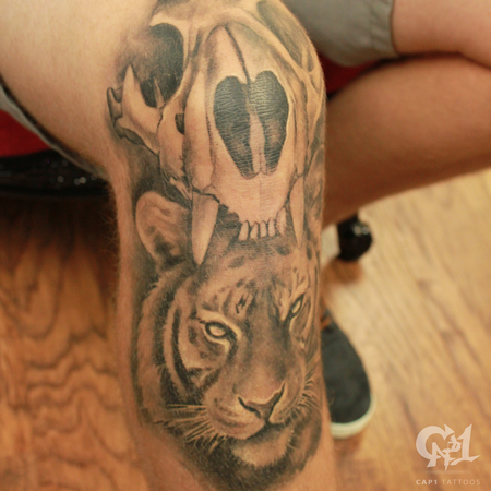 Tattoos - Tiger Skull and Tiger Knee Tattoo  - 123802