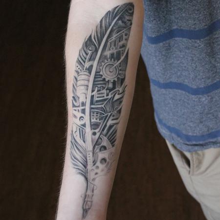 Tattoos - Healed Black and Grey Bio Mechanical Feather on Forearm - 119304