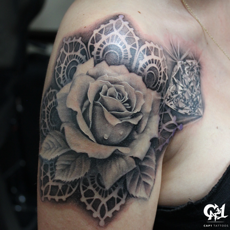 Tattoos - Realistic Rose and Diamond Tattoo - 126640
