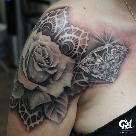 Tattoos - Realistic Rose and Diamond Tattoo - 126641