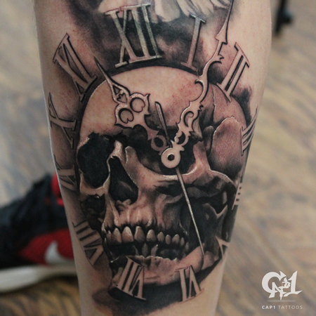 Tattoos - Skull and Time Tattoo - 127631