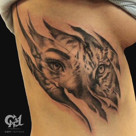 Tattoos - Tiger Rib Cage Skin Rips Tattoo - 122215