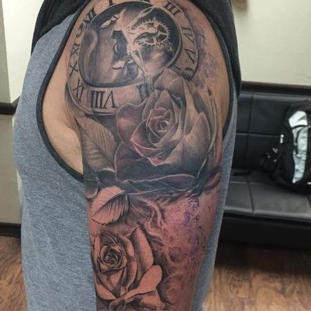 Tattoos - Mechanical Clock and Roses Sleeve Progress - 119948