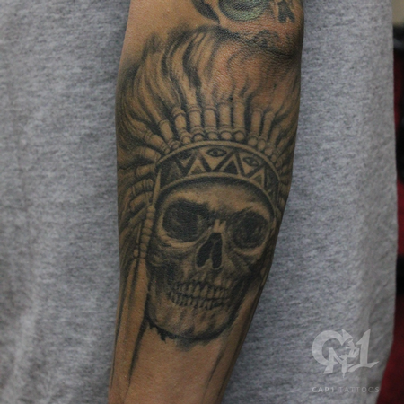 Tattoos - Native American Skull Tattoo - 123118