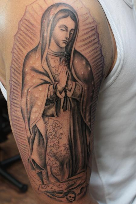 Tattoos - Black and Gray Virgin Mary - 120080