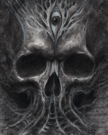 Art Galleries - Cap1 Tattoos Skull Charcoal Drawing - 129135
